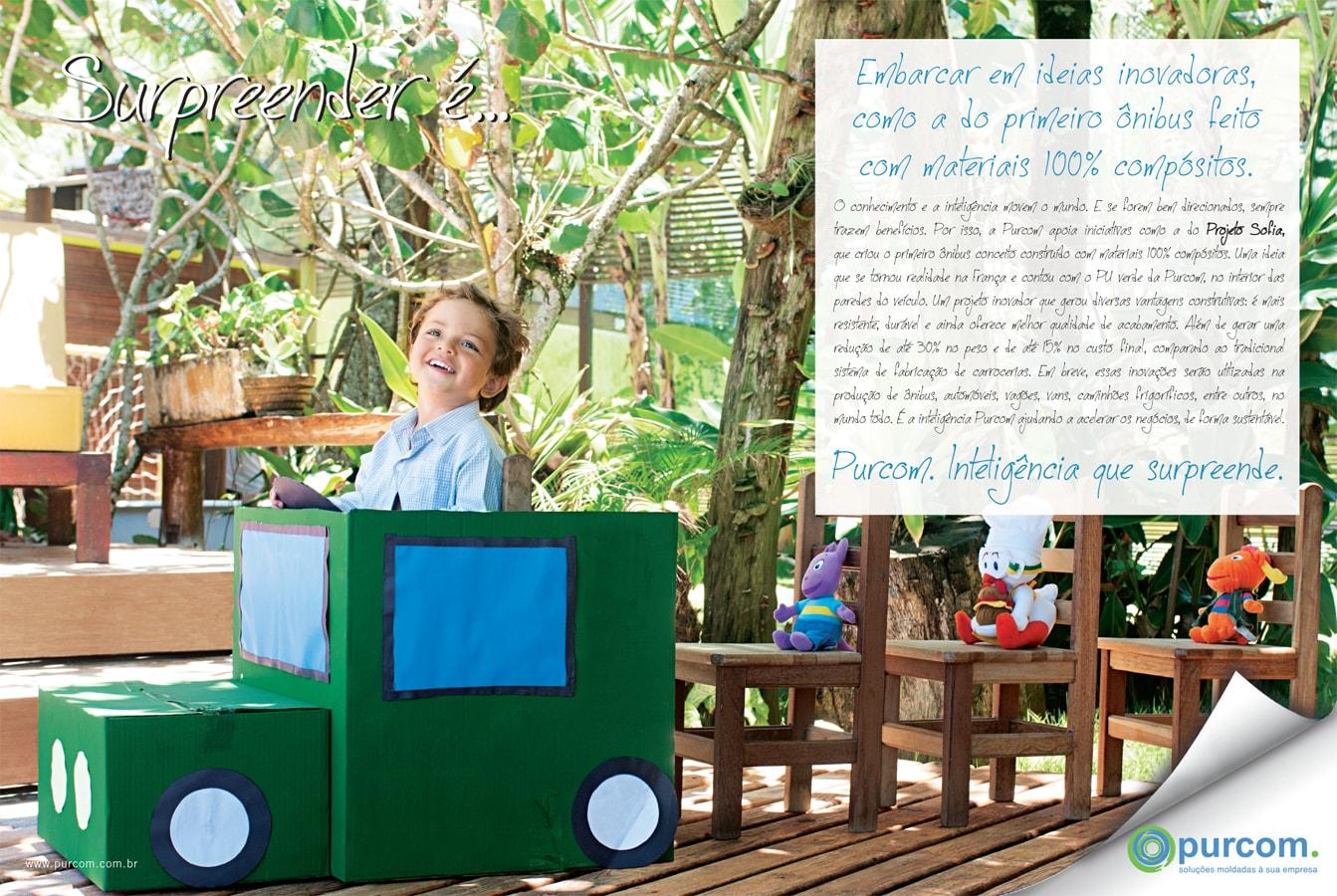 Embarcar em ideias inovadoras como a do primeiro ônibus feito com materiais 100% compósitos.