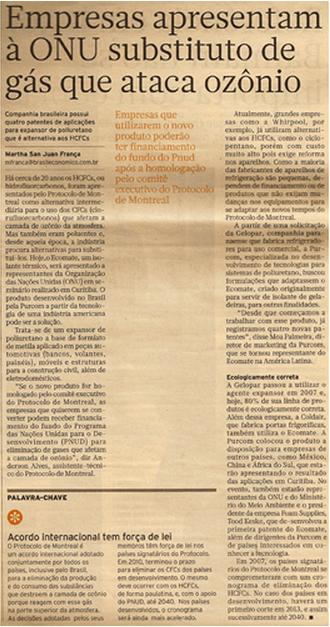 Brasil Econômico / ONU aprova utilização do Ecomate
