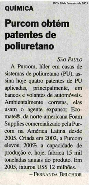DCI / Purcom obtém patentes de poliuretano