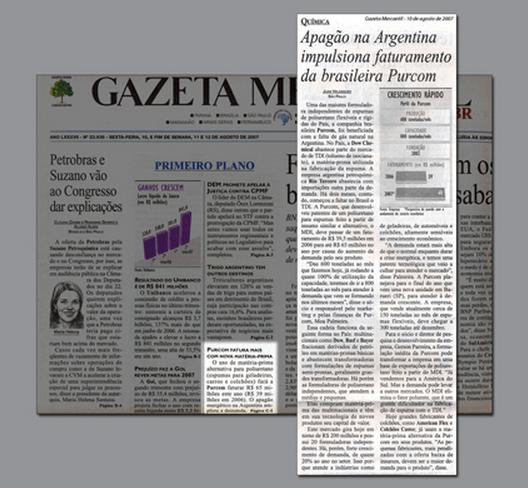 Gazeta Mercantil / Para superar crise de TDI, Purcom desenvolve espuma flexível utilizando MDI