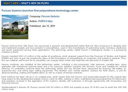 Revista PU2PU / Purcom inaugura o primeiro Centro de Tecnologia, focado em poliuretano, do Brasil