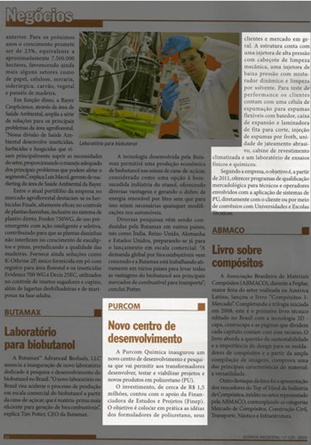 Revista Química Industrial / Purcom inaugura o primeiro Centro de Tecnologia, focado em poliuretano, do Brasil