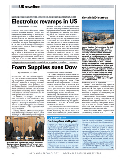 Revista Urethanes Technology / Purcom realiza parceria com a norte-americana Foam Supplies